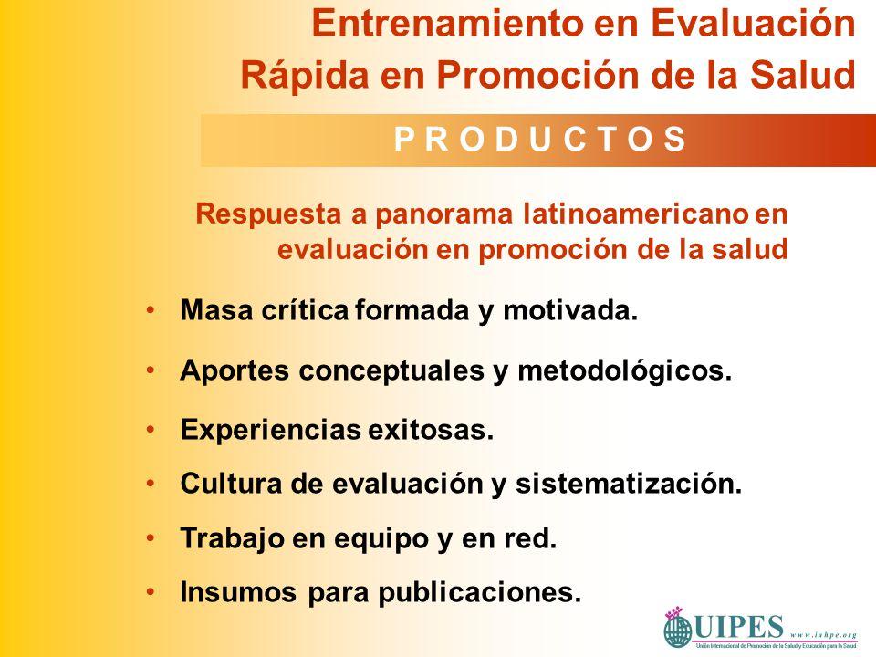 Masa crítica formada y motivada. Aportes conceptuales y metodológicos. Experiencias exitosas. Cultura de evaluación y sistematización. Trabajo en equi
