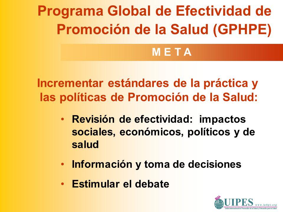 Revisión de efectividad: impactos sociales, económicos, políticos y de salud Información y toma de decisiones Estimular el debate Programa Global de E