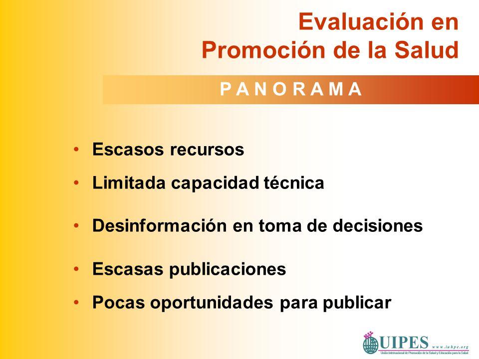 Diversidad en enfoques y prácticas Limitadas experiencias Poco uso de la evaluación Prioridad prevención de riesgos, no determinantes Resultados de evaluación no articulados a decisiones Evaluación en Promoción de la Salud en América Latina P A N O R A M A