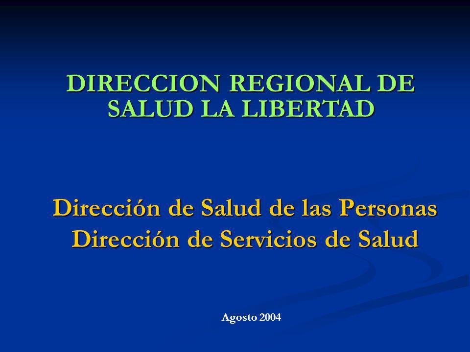 DIRECCION REGIONAL DE SALUD LA LIBERTAD Agosto 2004 Dirección de Salud de las Personas Dirección de Servicios de Salud