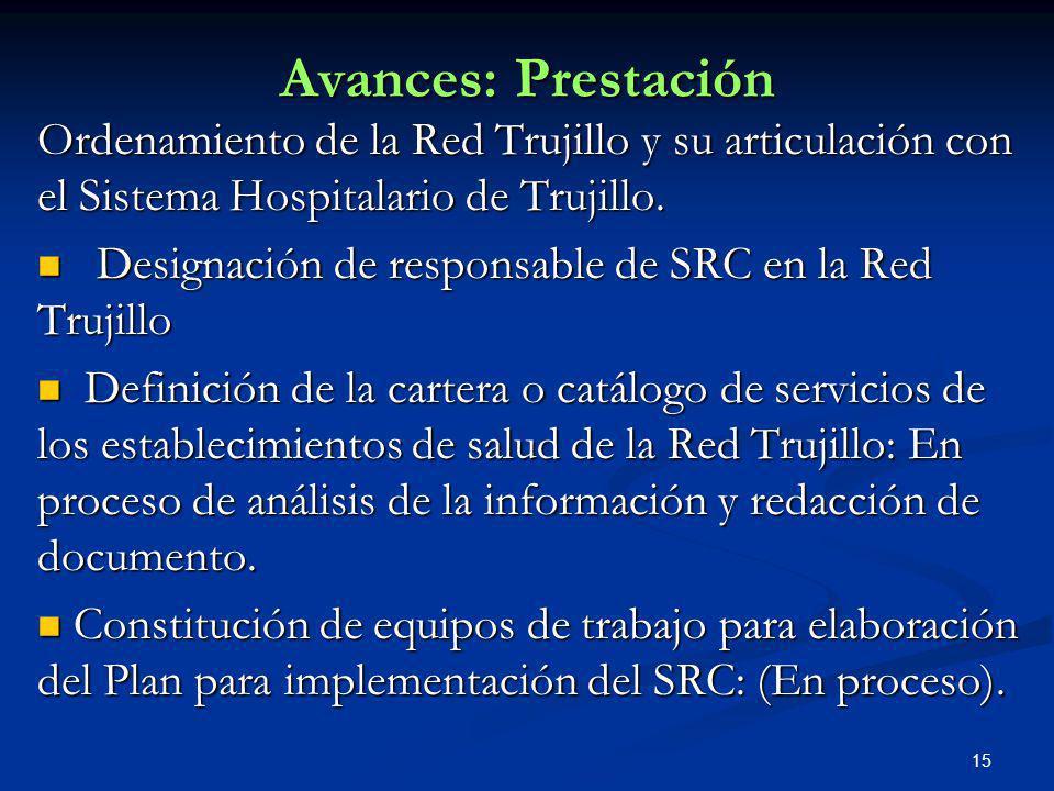 15 Avances: Prestación Ordenamiento de la Red Trujillo y su articulación con el Sistema Hospitalario de Trujillo. Designación de responsable de SRC en