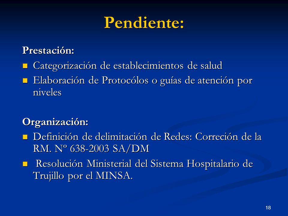 18 Prestación: Categorización de establecimientos de salud Categorización de establecimientos de salud Elaboración de Protocólos o guías de atención p