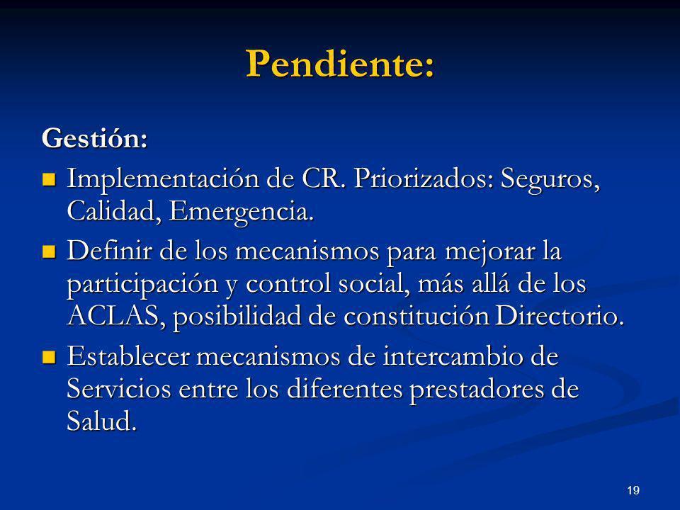 19 Gestión: Implementación de CR. Priorizados: Seguros, Calidad, Emergencia. Implementación de CR. Priorizados: Seguros, Calidad, Emergencia. Definir