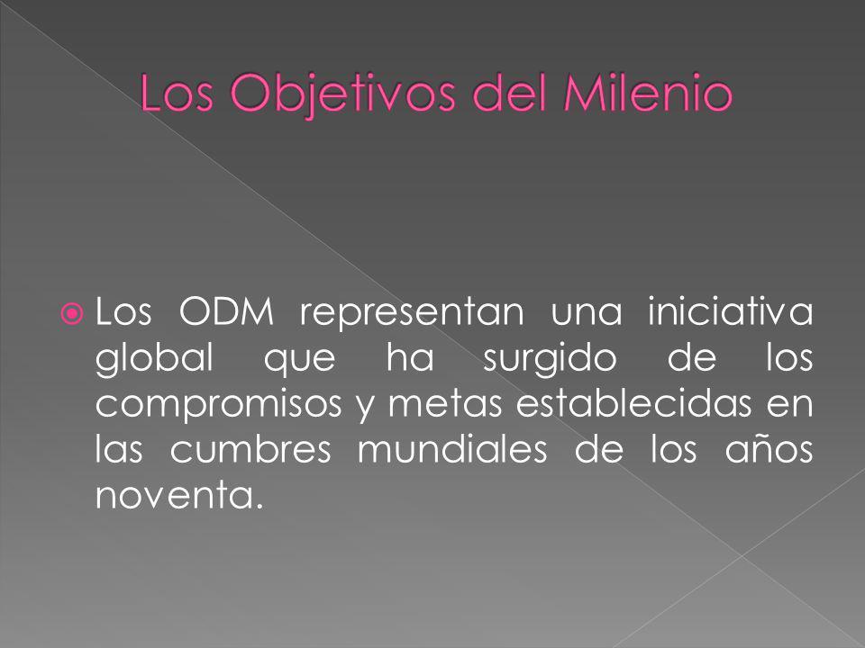 Los ODM representan una iniciativa global que ha surgido de los compromisos y metas establecidas en las cumbres mundiales de los años noventa.