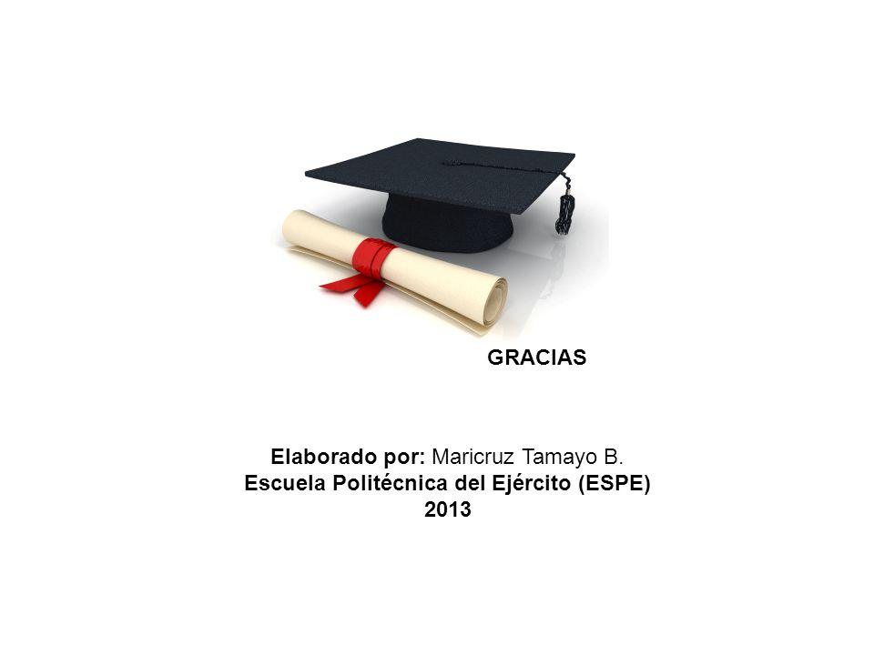 GRACIAS Elaborado por: Maricruz Tamayo B. Escuela Politécnica del Ejército (ESPE) 2013