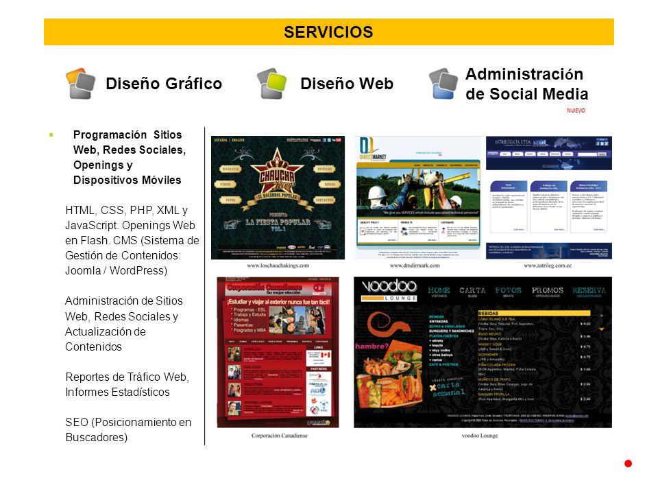 SERVICIOS Programación Sitios Web, Redes Sociales, Openings y Dispositivos Móviles HTML, CSS, PHP, XML y JavaScript.