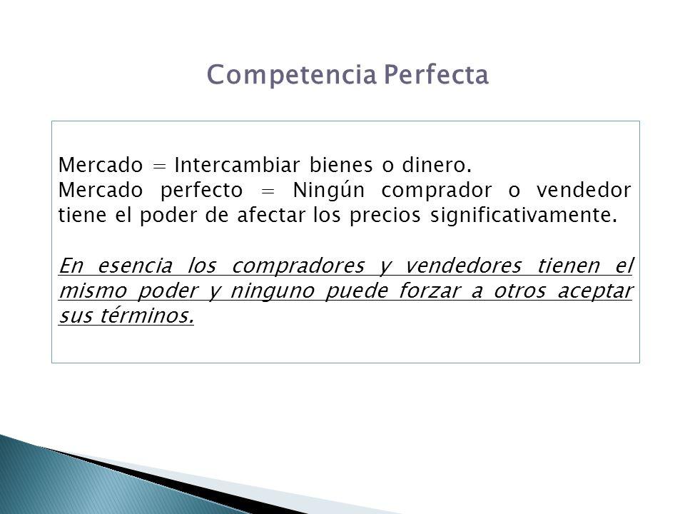 Competencia Perfecta Mercado = Intercambiar bienes o dinero. Mercado perfecto = Ningún comprador o vendedor tiene el poder de afectar los precios sign