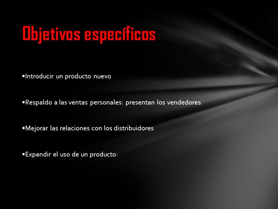 Introducir un producto nuevo Respaldo a las ventas personales: presentan los vendedores. Mejorar las relaciones con los distribuidores Expandir el uso