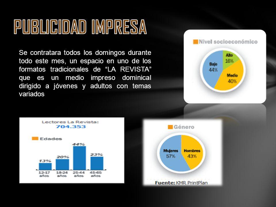 Se contratara todos los domingos durante todo este mes, un espacio en uno de los formatos tradicionales de LA REVISTA que es un medio impreso dominica