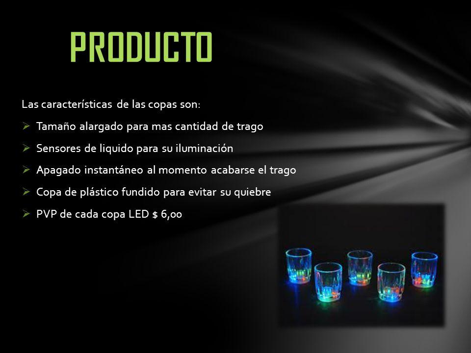 Las características de las copas son: Tamaño alargado para mas cantidad de trago Sensores de liquido para su iluminación Apagado instantáneo al moment