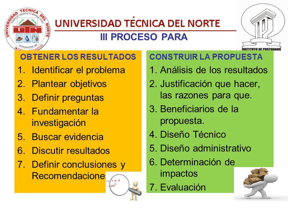III PROCESO PARA OBTENER LOS RESULTADOS 1.Identificar el problema 2.Plantear objetivos 3.Definir preguntas 4.Fundamentar la investigación 5.Buscar evi