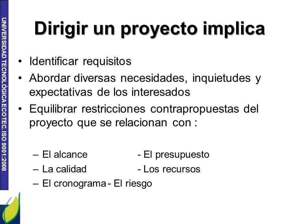 UNIVERSIDAD TECNOLÓGICA ECOTEC. ISO 9001:2008 Dirigir un proyecto implica Identificar requisitos Abordar diversas necesidades, inquietudes y expectati