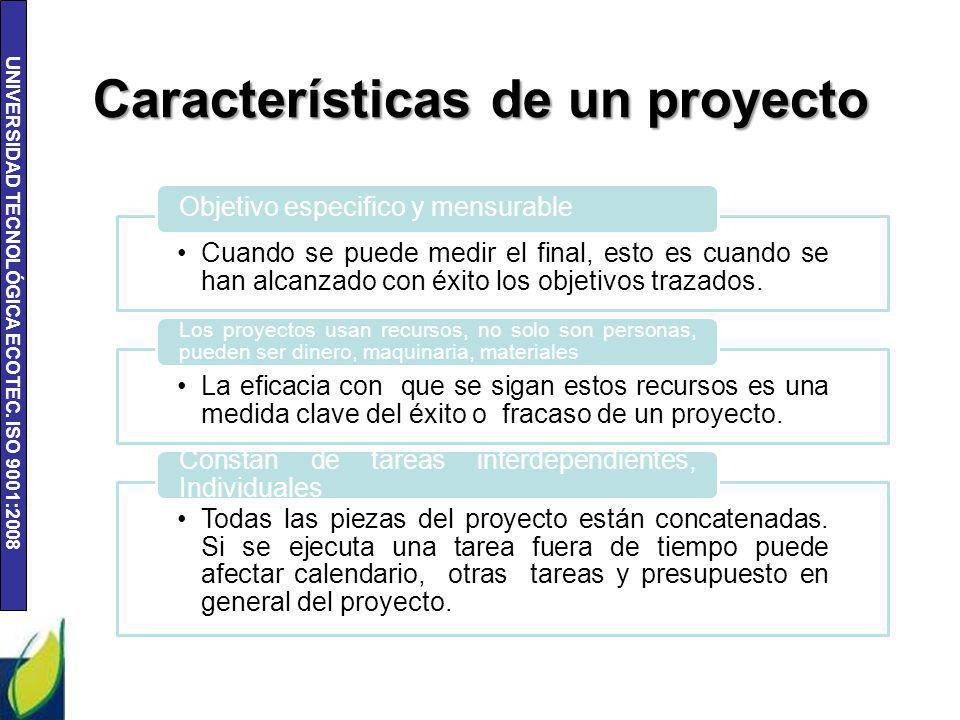 UNIVERSIDAD TECNOLÓGICA ECOTEC. ISO 9001:2008 Características de un proyecto Cuando se puede medir el final, esto es cuando se han alcanzado con éxito