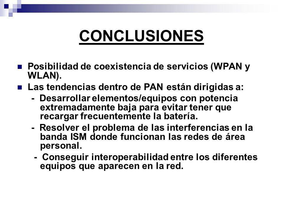 CONCLUSIONES Posibilidad de coexistencia de servicios (WPAN y WLAN). Las tendencias dentro de PAN están dirigidas a: - Desarrollar elementos/equipos c