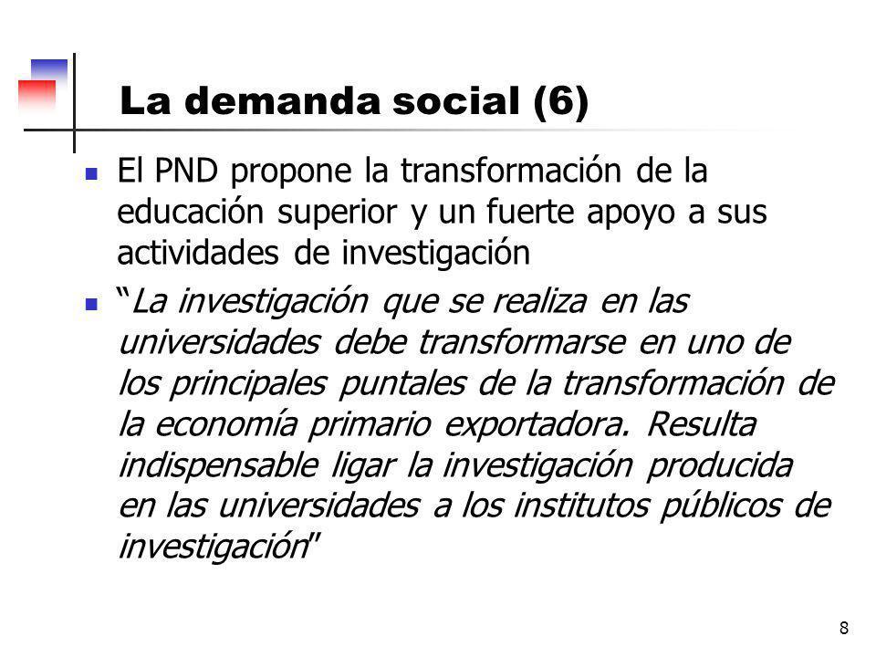 La demanda social (6) 8 El PND propone la transformación de la educación superior y un fuerte apoyo a sus actividades de investigación La investigación que se realiza en las universidades debe transformarse en uno de los principales puntales de la transformación de la economía primario exportadora.