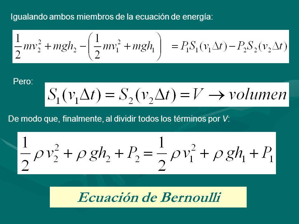 Igualando ambos miembros de la ecuación de energía: Pero: De modo que, finalmente, al dividir todos los términos por V: Ecuación de Bernoulli