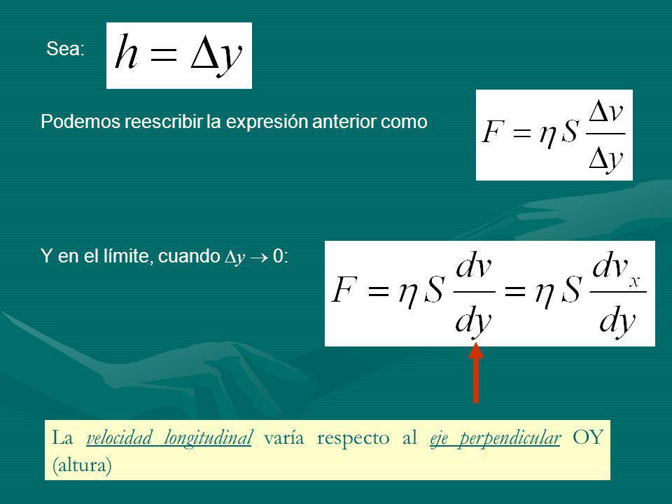 Sea: Podemos reescribir la expresión anterior como Y en el límite, cuando y 0: La velocidad longitudinal varía respecto al eje perpendicular OY (altura)