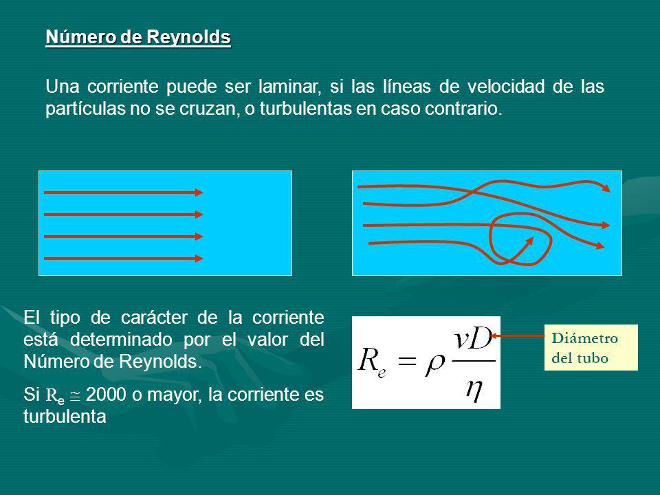 Número de Reynolds Una corriente puede ser laminar, si las líneas de velocidad de las partículas no se cruzan, o turbulentas en caso contrario.