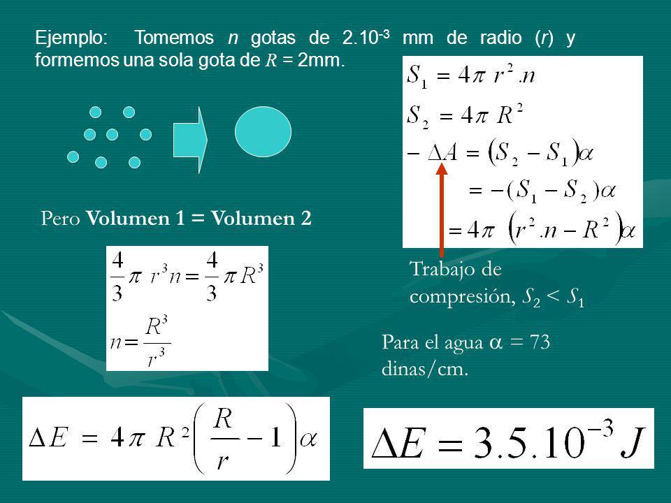 Ejemplo: Tomemos n gotas de 2.10 -3 mm de radio (r) y formemos una sola gota de R = 2mm.