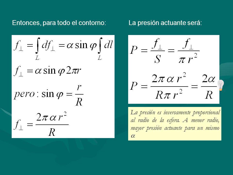 Entonces, para todo el contorno:La presión actuante será: La presión es inversamente proporcional al radio de la esfera.