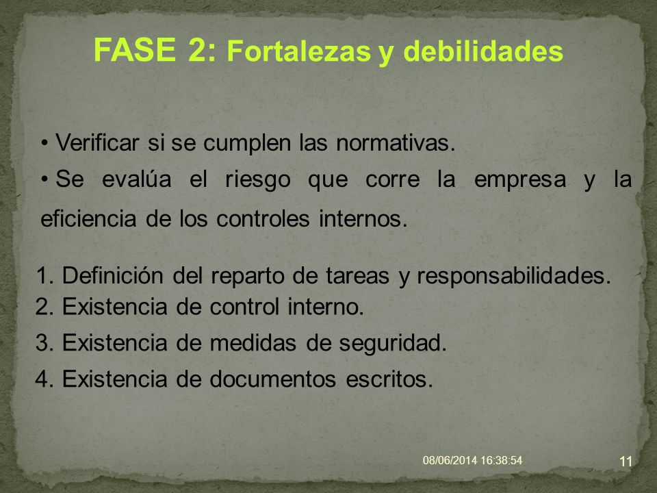 FASE 2: Fortalezas y debilidades Verificar si se cumplen las normativas. 08/06/2014 16:40:42 11 1. Definición del reparto de tareas y responsabilidade