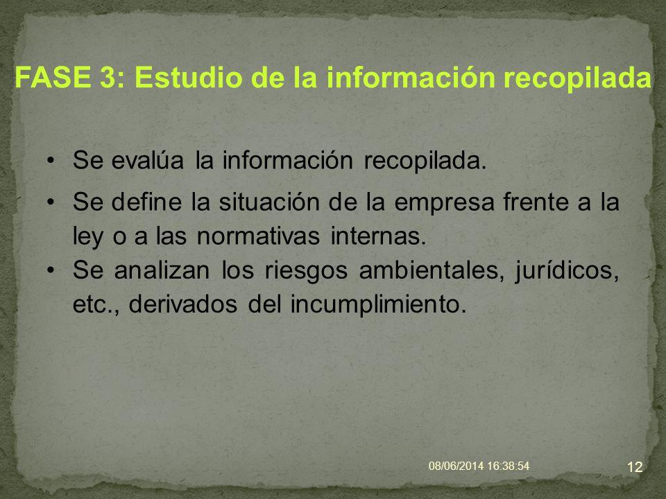 FASE 3: Estudio de la información recopilada Se evalúa la información recopilada. 08/06/2014 16:40:42 12 Se define la situación de la empresa frente a