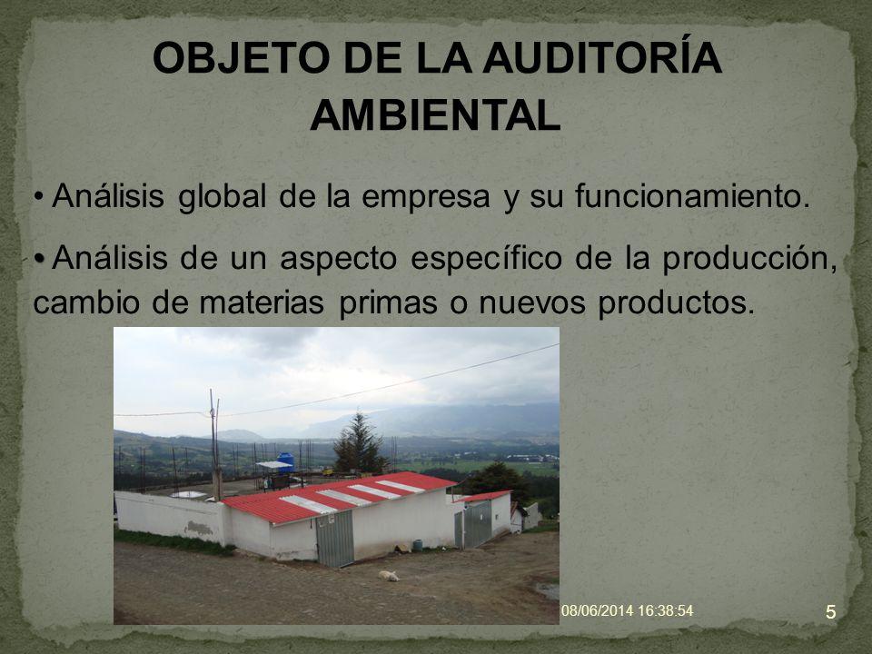 OBJETO DE LA AUDITORÍA AMBIENTAL 5 Análisis de un aspecto específico de la producción, cambio de materias primas o nuevos productos. Análisis global d