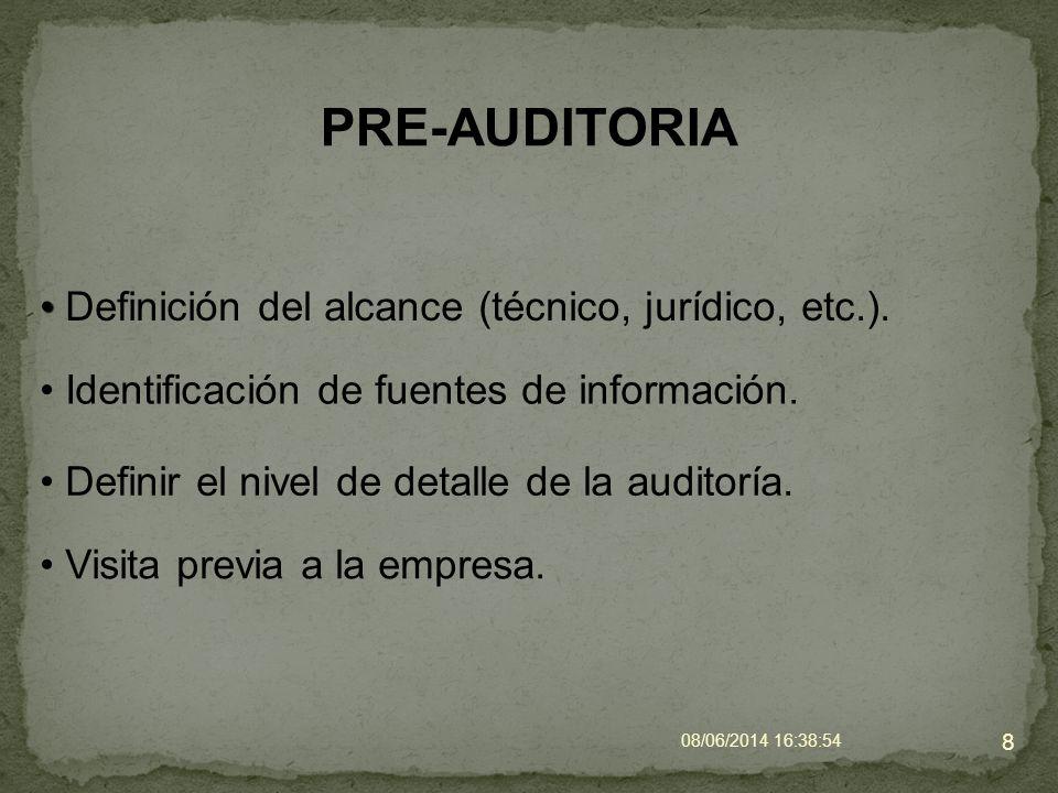 PRE-AUDITORIA Definición del alcance (técnico, jurídico, etc.). 8 Identificación de fuentes de información. Definir el nivel de detalle de la auditorí