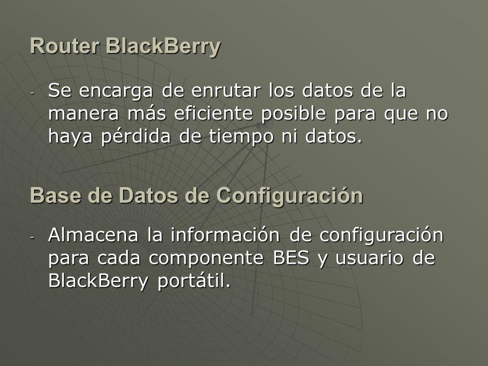 Router BlackBerry - Se encarga de enrutar los datos de la manera más eficiente posible para que no haya pérdida de tiempo ni datos.