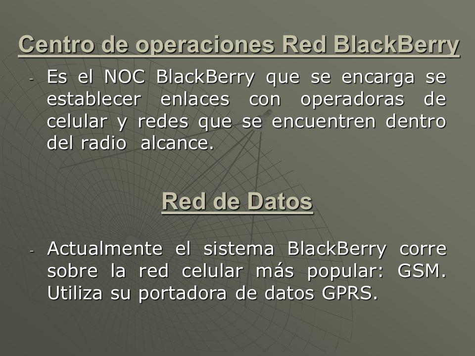 Centro de operaciones Red BlackBerry - Es el NOC BlackBerry que se encarga se establecer enlaces con operadoras de celular y redes que se encuentren dentro del radio alcance.