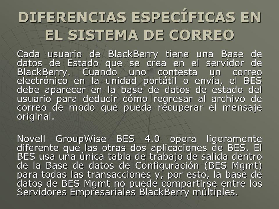 DIFERENCIAS ESPECÍFICAS EN EL SISTEMA DE CORREO Cada usuario de BlackBerry tiene una Base de datos de Estado que se crea en el servidor de BlackBerry.