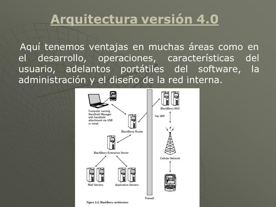Arquitectura versión 4.0 Aquí tenemos ventajas en muchas áreas como en el desarrollo, operaciones, características del usuario, adelantos portátiles del software, la administración y el diseño de la red interna.