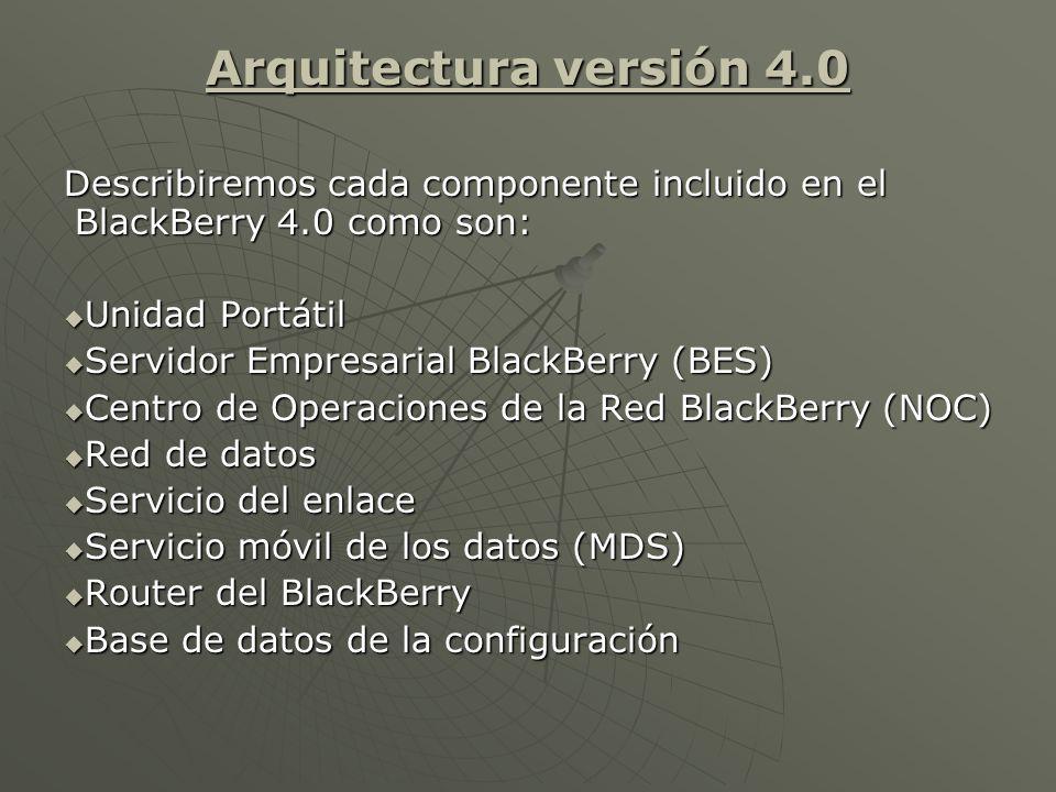 Arquitectura versión 4.0 Describiremos cada componente incluido en el BlackBerry 4.0 como son: Unidad Portátil Unidad Portátil Servidor Empresarial BlackBerry (BES) Servidor Empresarial BlackBerry (BES) Centro de Operaciones de la Red BlackBerry (NOC) Centro de Operaciones de la Red BlackBerry (NOC) Red de datos Red de datos Servicio del enlace Servicio del enlace Servicio móvil de los datos (MDS) Servicio móvil de los datos (MDS) Router del BlackBerry Router del BlackBerry Base de datos de la configuración Base de datos de la configuración