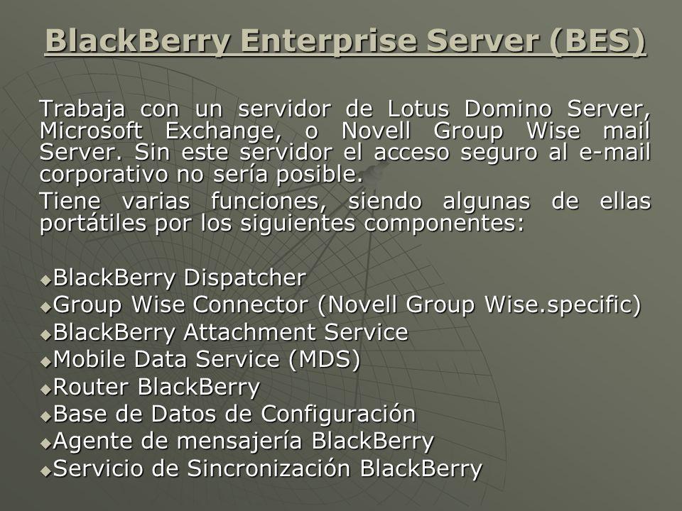La Figura 1-5 y 1-6 muestran cómo los diferentes componentes de BlackBerry trabajan junto con el sistema del correo electrónico y cómo se comunican con las unidades portátiles.