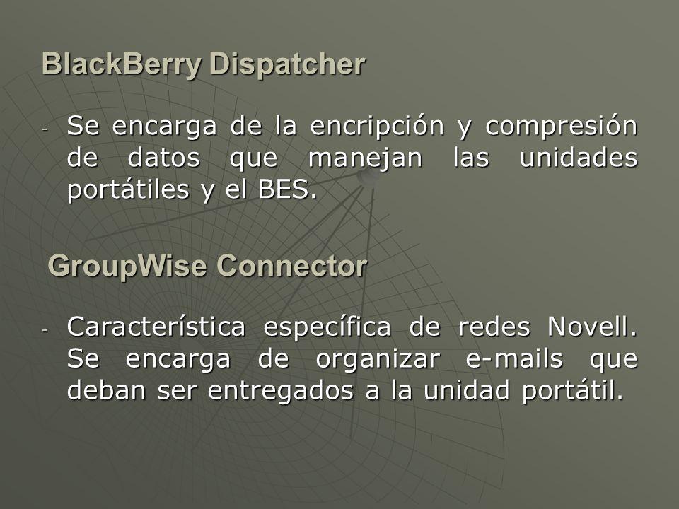 BlackBerry Attachment Service - Es un servicio que se encarga de administrar los archivos adjuntos a un e-mail para que el usuario pueda visualizarlos.