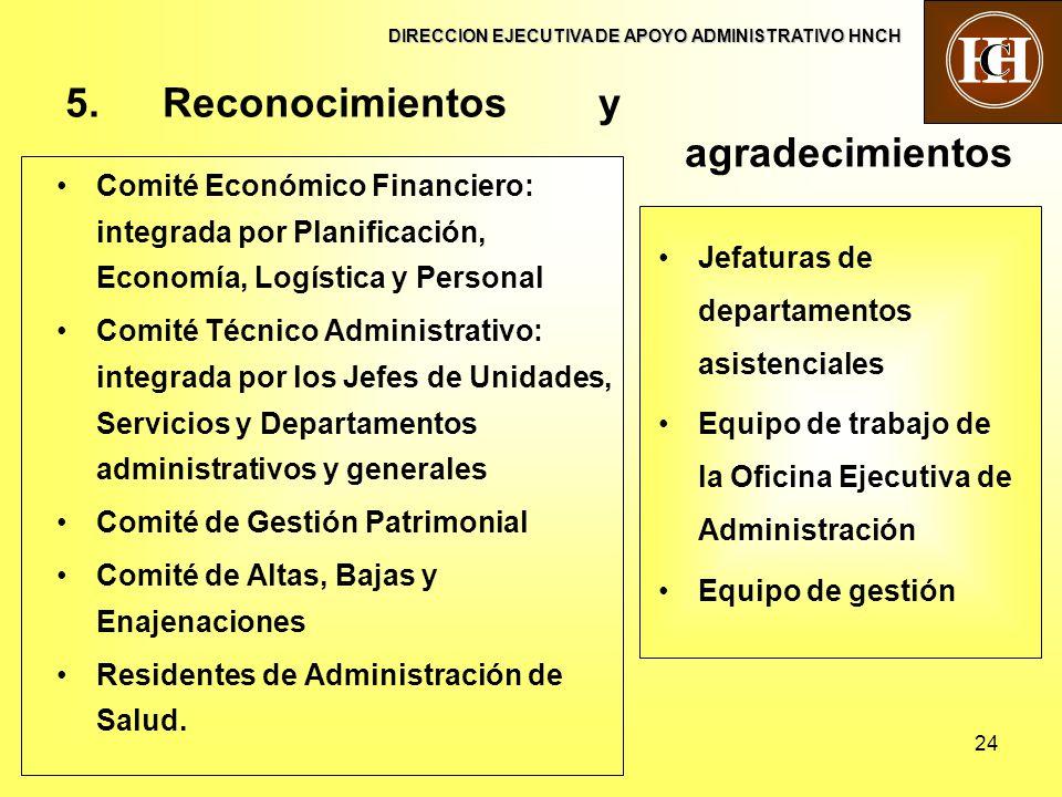 24 5.Reconocimientos y agradecimientos Comité Económico Financiero: integrada por Planificación, Economía, Logística y Personal Comité Técnico Adminis