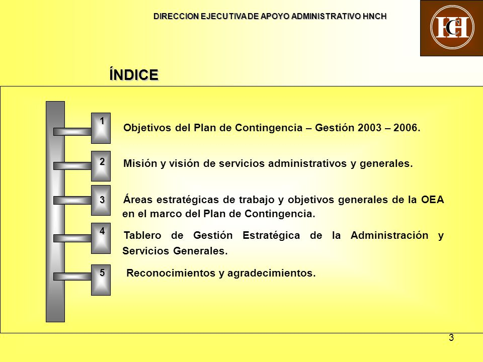 3 Objetivos del Plan de Contingencia – Gestión 2003 – 2006. Misión y visión de servicios administrativos y generales. Áreas estratégicas de trabajo y