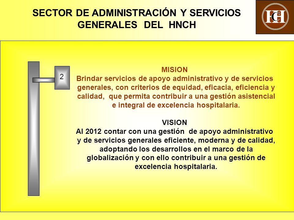 5 MISION Brindar servicios de apoyo administrativo y de servicios generales, con criterios de equidad, eficacia, eficiencia y calidad, que permita contribuir a una gestión asistencial e integral de excelencia hospitalaria.