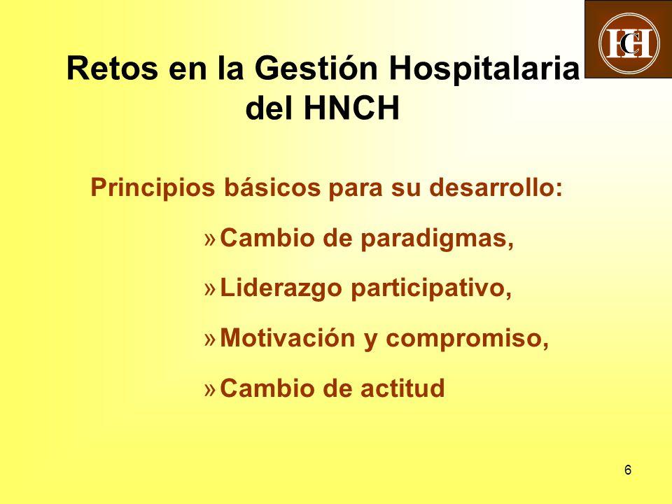 6 Principios básicos para su desarrollo: »Cambio de paradigmas, »Liderazgo participativo, »Motivación y compromiso, »Cambio de actitud Retos en la Gestión Hospitalaria del HNCH