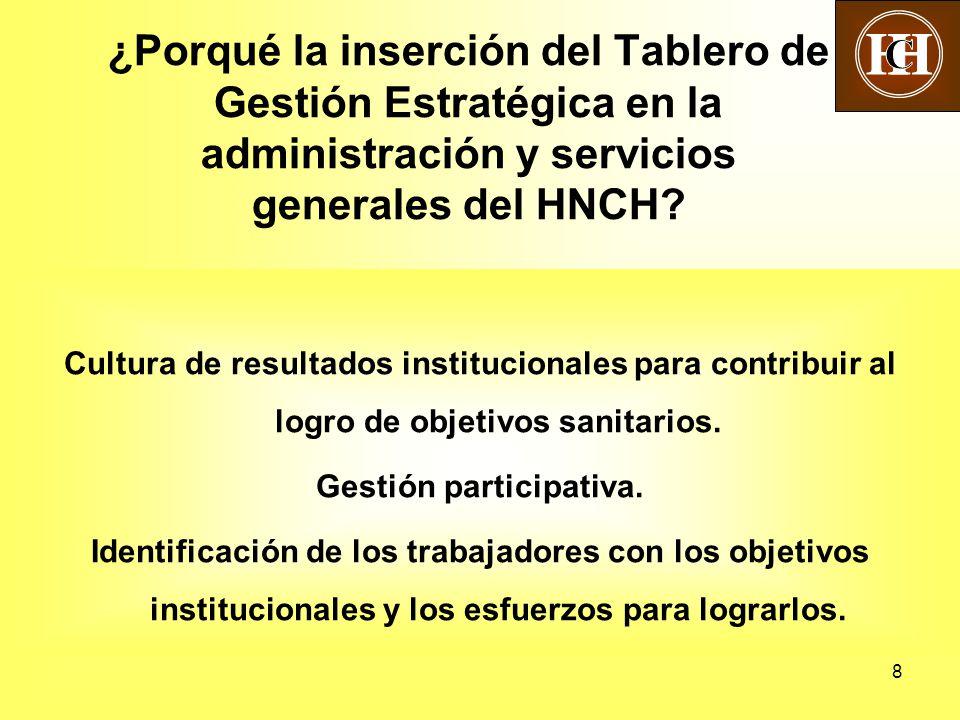 8 ¿Porqué la inserción del Tablero de Gestión Estratégica en la administración y servicios generales del HNCH? Cultura de resultados institucionales p