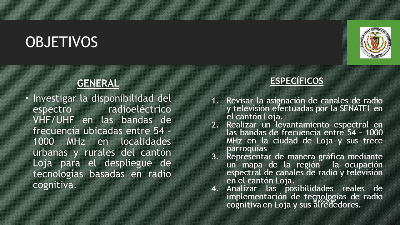 OBJETIVOS GENERAL Investigar la disponibilidad del espectro radioeléctrico VHF/UHF en las bandas de frecuencia ubicadas entre 54 - 1000 MHz en localid