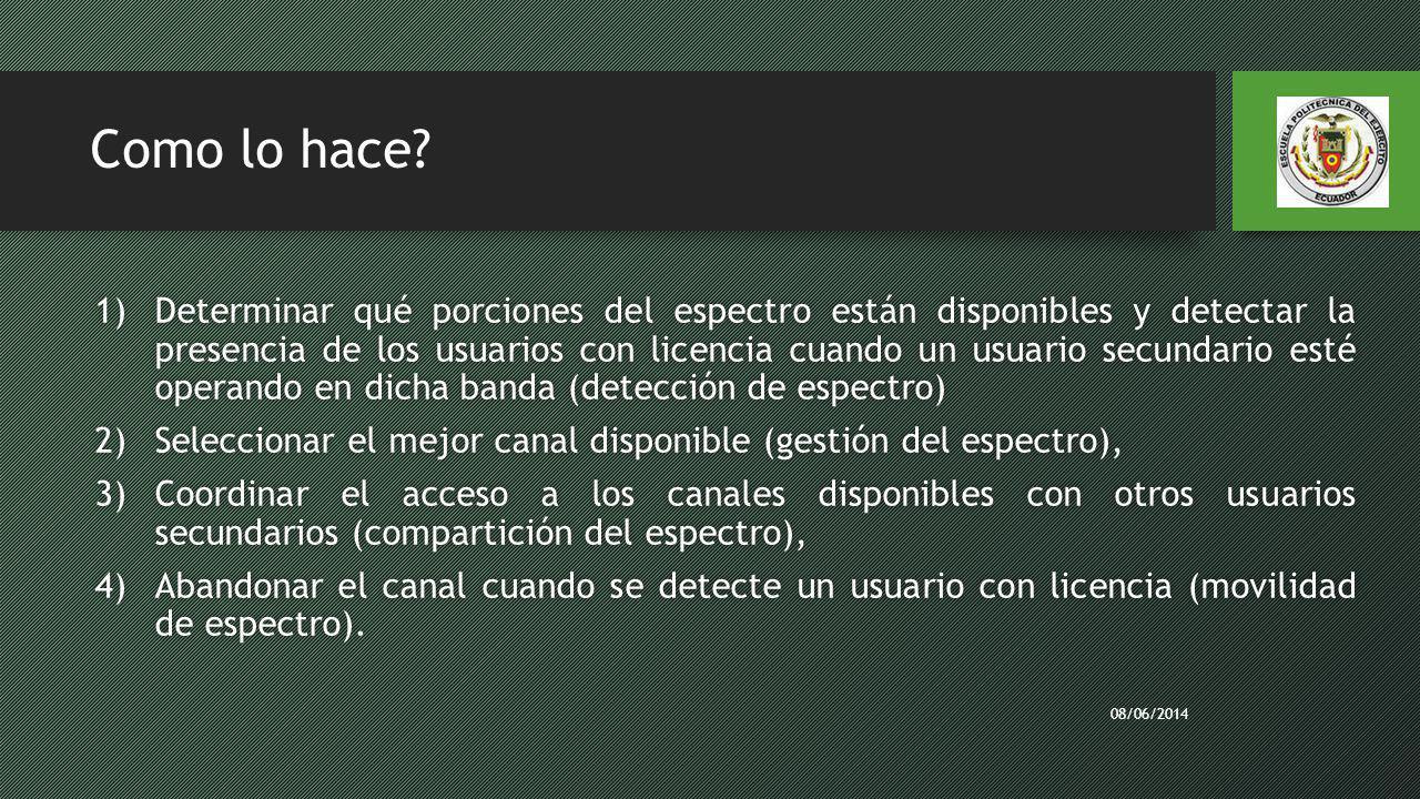 Como lo hace? 1)Determinar qué porciones del espectro están disponibles y detectar la presencia de los usuarios con licencia cuando un usuario secunda