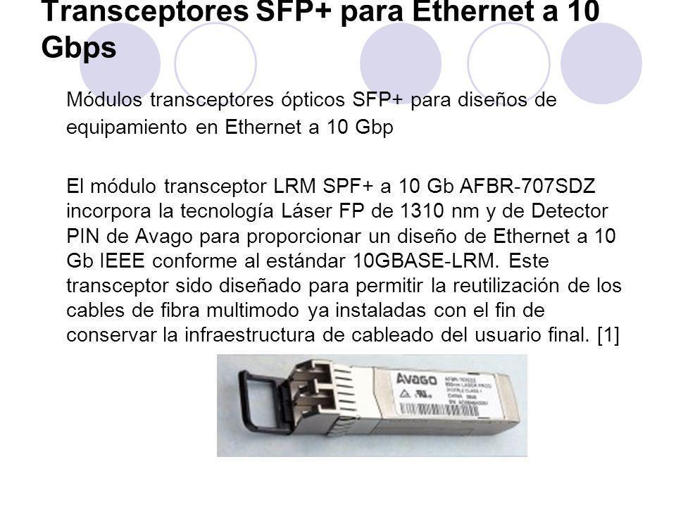 Transceptores SFP+ para Ethernet a 10 Gbps Módulos transceptores ópticos SFP+ para diseños de equipamiento en Ethernet a 10 Gbp El módulo transceptor LRM SPF+ a 10 Gb AFBR-707SDZ incorpora la tecnología Láser FP de 1310 nm y de Detector PIN de Avago para proporcionar un diseño de Ethernet a 10 Gb IEEE conforme al estándar 10GBASE-LRM.
