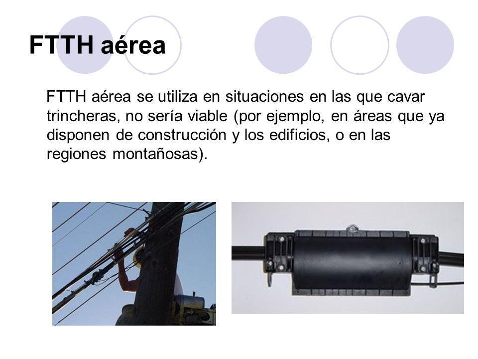 FTTH aérea FTTH aérea se utiliza en situaciones en las que cavar trincheras, no sería viable (por ejemplo, en áreas que ya disponen de construcción y los edificios, o en las regiones montañosas).