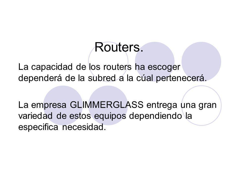 Routers. La capacidad de los routers ha escoger dependerá de la subred a la cúal pertenecerá.