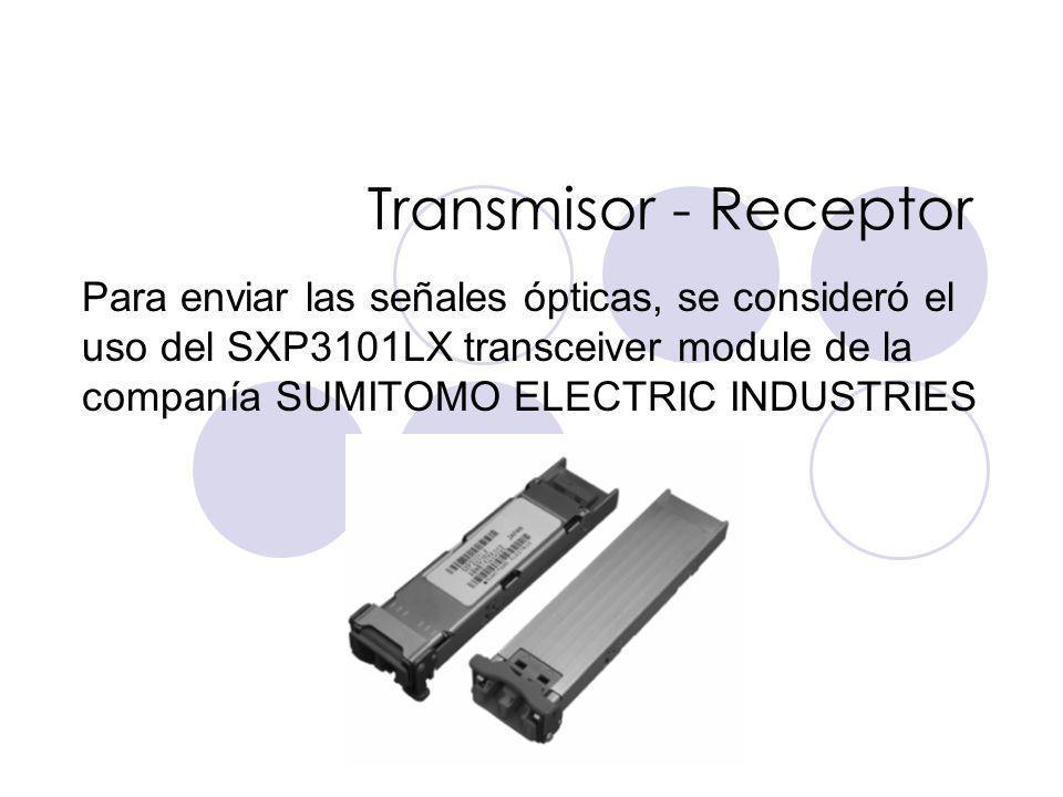 Transmisor - Receptor Para enviar las señales ópticas, se consideró el uso del SXP3101LX transceiver module de la companía SUMITOMO ELECTRIC INDUSTRIES