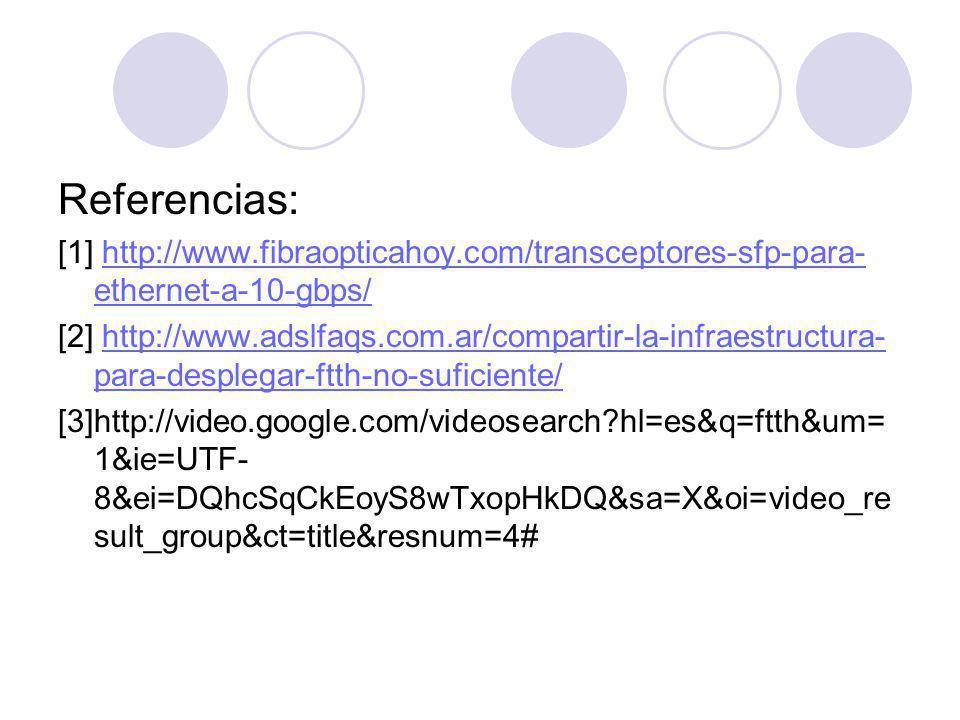 Referencias: [1] http://www.fibraopticahoy.com/transceptores-sfp-para- ethernet-a-10-gbps/http://www.fibraopticahoy.com/transceptores-sfp-para- ethernet-a-10-gbps/ [2] http://www.adslfaqs.com.ar/compartir-la-infraestructura- para-desplegar-ftth-no-suficiente/http://www.adslfaqs.com.ar/compartir-la-infraestructura- para-desplegar-ftth-no-suficiente/ [3]http://video.google.com/videosearch hl=es&q=ftth&um= 1&ie=UTF- 8&ei=DQhcSqCkEoyS8wTxopHkDQ&sa=X&oi=video_re sult_group&ct=title&resnum=4#