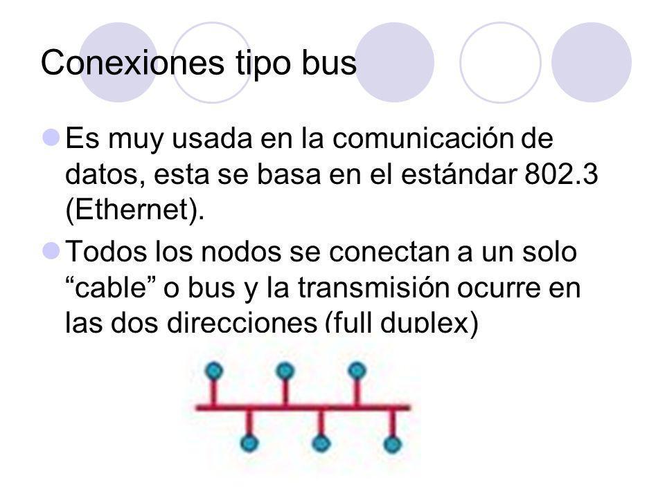 Conexiones tipo bus Es muy usada en la comunicación de datos, esta se basa en el estándar 802.3 (Ethernet).