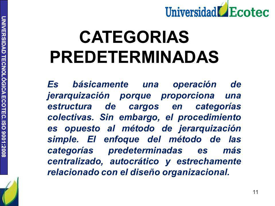UNIVERSIDAD TECNOLÓGICA ECOTEC. ISO 9001:2008 11 CATEGORIAS PREDETERMINADAS Es básicamente una operación de jerarquización porque proporciona una estr