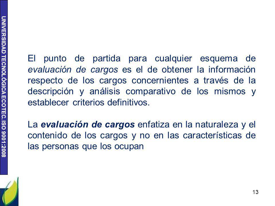 UNIVERSIDAD TECNOLÓGICA ECOTEC. ISO 9001:2008 13 El punto de partida para cualquier esquema de evaluación de cargos es el de obtener la información re
